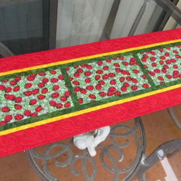 Quilted Table Runner Ladybug Red 629