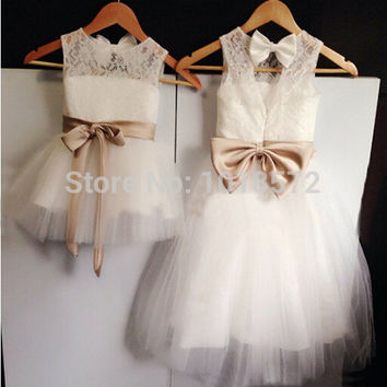 2016 New Real Flower Girl Dresses Bow Sashes Keyhole Party Communion Pageant Dress for Wedding Little Girls Kids/Children Dress