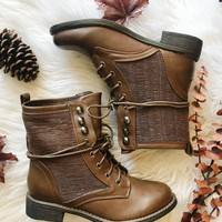 ESTELLE COMBAT BOOTS- BROWN