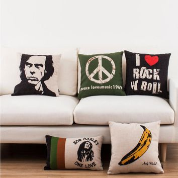 Sonic Youth The Door Gorillaz Music Band Emoji Throw Messager Decorative Vintage Pillows Cover Pillow Cases Home Decor Home Gift