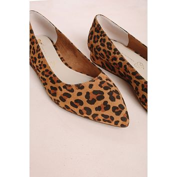 Role Model Leopard Suede Wedge Flats