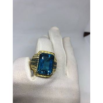 Vintage geniune London blue topaz White Sapphire Golden 925 sterling silver Ring
