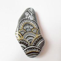 Handpainted Rock Pebble art, Mandala Stone art, Golden Silver Zentangle Mandala, Christmas gift, Yoga Zen room decor, Yoga Boho office gifts