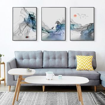 SURE LIFE 3pcs Abstract Sunrise Landscape Wall Art Canvas Paintings Nordic Picture Poster Print Living Room Office Home Decor