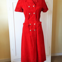 Vintage 1940s Red Laura Lee Corduroy Day Dress