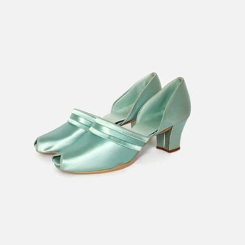 Vintage 40s Aqua Satin Heels / 1940s Daniel Green Pin-Up Boudoir Slippers