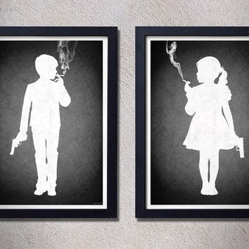 Kids today,2 prints,girl,boy,gothic,art,poster,black and white,black
