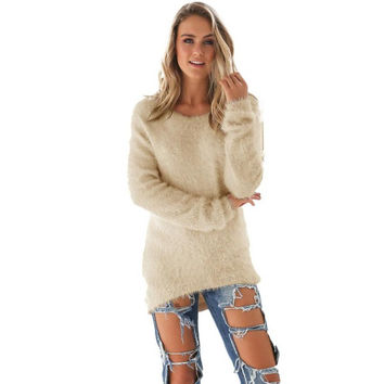 Pull Femme   Mink Cashmere Women Sweaters And Pullovers Long Sleeve Female Loose Jumper Women Sweater 5 Colors GS