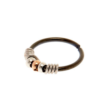 20G Black & Silver Coil Nose Ring