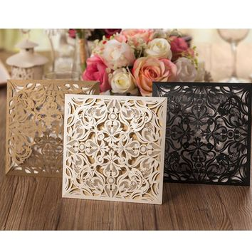 1pcs Sample Gold White Black Laser Cut Rose Flora Wedding Invitations Card