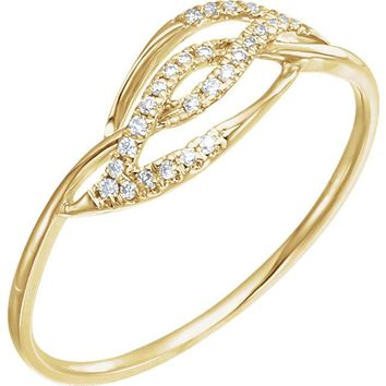 14K Yellow White Gold  Ethically Mined Diamond Accented Ring