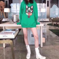 """Gucci"" Women Casual Fashion Embroidery Dog Head Pattern Hooded Long Sleeve Pullover Sweater Tops"