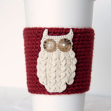 Coffee cozy, coffee sleeve, brick red sleeve, natural beige woodland owl, crocheted, cup sleeve