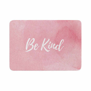 "KESS Original ""Be Kind"" Pink White Memory Foam Bath Mat"