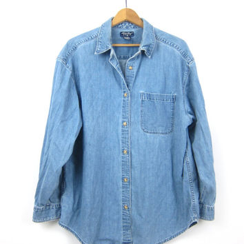 Vintage 90s Blue Jean Shirt Button Up Slouchy Denim Shirt Hipster Minimal Boho Baggy Oversized Boyfriend Shirt Size Women's XL