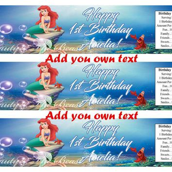 Customized Personalized Little Mermaid Bottle Water Label Wrappers Ariel Birthday Party Decorations Kids Party Supplies Cany Bar