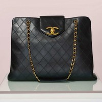 Vintage Chanel Quilted Super Model Tote
