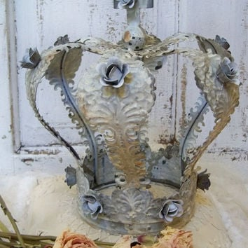 White weathered large crown distressed metal embellished with roses shabby chic home decor anita spero