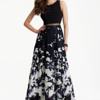 Two-Piece Illusion Dress with Abstract Print