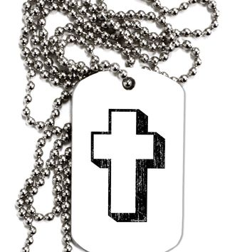 Simple Cross Design Black Distressed Adult Dog Tag Chain Necklace by TooLoud