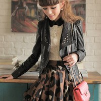 Women Black Leather Coat Inclined Zip V-Neck High Waist Short Jacket M/L @MFY2202b - $31.87 : DressLoves.com.