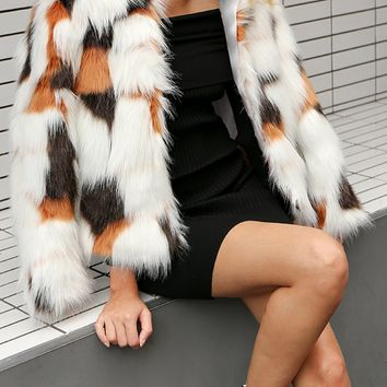 Polychrome Collarless Open Front Faux Fur Coat