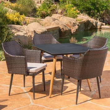 Terran Outdoor 5 Piece Wicker Dining Set with Tempered Glass Table with Metal Legs