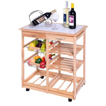 Rolling Kitchen Trolley Cart with Pull out Shelves This kitchen cart with 2 baskets, 2 drawers and 2 wooden shelves is a great help for storing and organizing your kitchen items