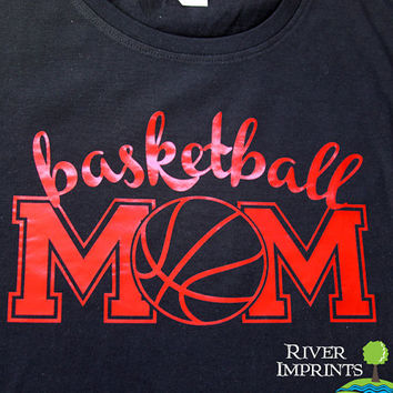 BASKETBALL MOM cursive, shiny foil t-shirt with your choice of color-- fitted, regular, or long sleeve