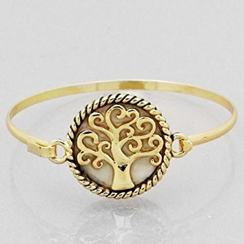 Womens Jewelry, Imitiation Mother of Pearl Tree of Life Hook Bangle Bracelets Color : Antique Gold-cream Size : Height:2.25inch