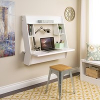 Prepac Floating Desk with Storage - White | Jet.com