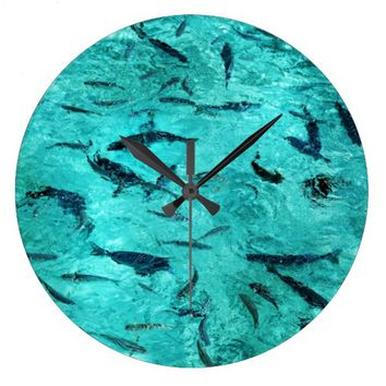 Fishes in the Blue Water Wall Clock