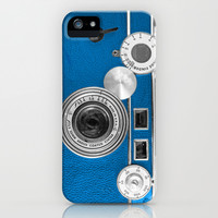 Dazzel blue Retro camera iPhone & iPod Case by Wood-n-Images