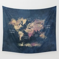 World Map Oceans and Continents Wall Tapestry by Jbjart