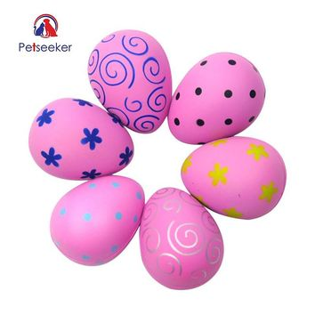 Petseeker 6 Pcs Rubber Soft Stress Egg Pet Cat Dog Ball Toy Shape Pets interactive Toys for Fun Small Dogs Breeds