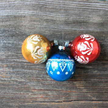 3 vintage mercury glass hand painted Christmas ornaments usa red gold blue