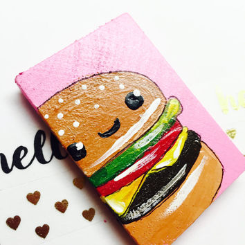 Kawaii Hamburger Magnet, Kawaii Cheeseburger, Kawaii Food, Unique Magnet, Japanese Food, Food with Faces, Kawaii Decor, Japanese Art