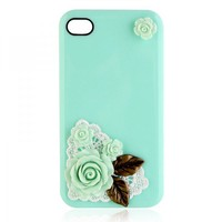 Lovely Rose With Copper Leaves Case For iPhone 4 / 4S