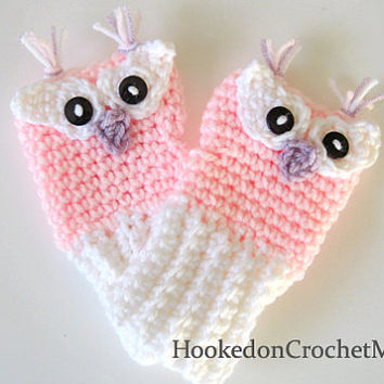 Owl Fingerless Gloves Pink or Purple and White Handmade Crochet Kids, Child,  Girls with Custom Sizes Available