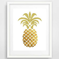 Gold glitter pineapple wall art, pineapple art, pineapple poster, fruit art, wall prints, kitchen wall decor, wall pictures