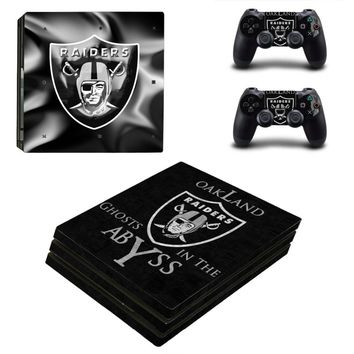 Oakland Raiders PS4 Pro Skin Sticker Decal for Sony PlayStation 4 Console and 2 Controller PS4 Pro Skin Sticker Vinyl