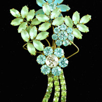 Czech Frosted Glass Brooch Floral Spray of Teal Green Blue Rhinestones Vintage 3.5 Inches