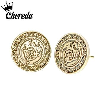 Chereda Knot Dragon Vintage Stud Earring Viking Slavic 2 Color Antique Jewelry Mens Male Belief Enthic Jewelry Fine Accessories
