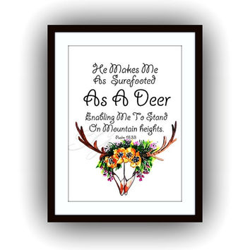He makes me as surefooted as a deer, Printable Wall Art, skull watercolor painting,bible verse  home decor, verses decal, scripture decals