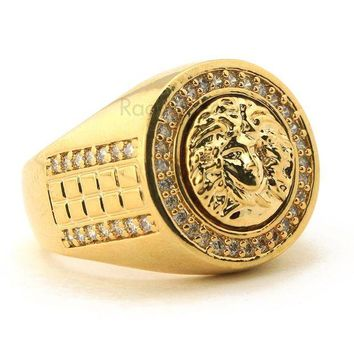 DCCKH7E MEN'S ICED OUT HIP HOP LAB DIAMOND MEDUSA BRASS RING SIZE 8-12 BR002G