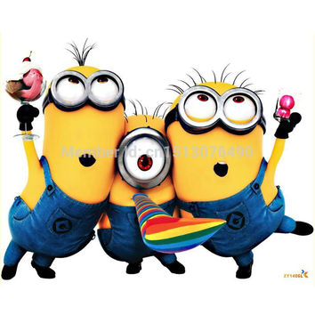 Free shipping DESPICABLE ME 2 cute cartoon MINIONS wall sticker decoration Removable Vinyl Art decals for kids rooms
