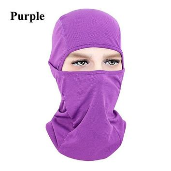 PURPLE Winter Outdoor Ski Bibs Snowboard Skiing Full Face Mask Cycling Sport Headgear Tactical Paintball Cap Hat Snowbile Balaclava