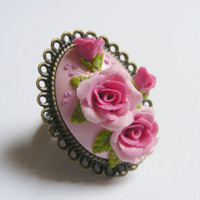 Pink Roses and Buds Adjustable Ring - Handmade Jewelry, Polymer Clay Applique, Flower Jewelry,Polymer Clay Ring, Miniature Flowers Ring