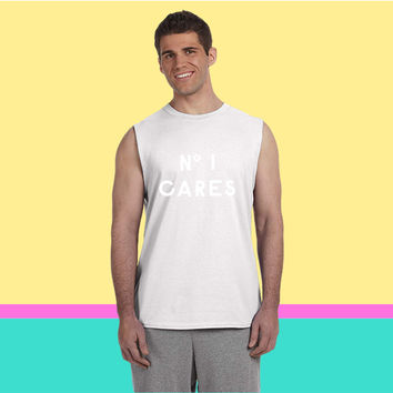 NO 1 CARES IN WHITE_ Sleeveless T-shirt