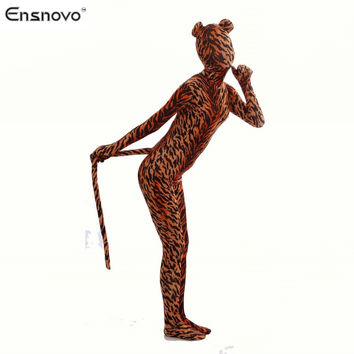 Ensnovo Spandex Tiger Costume Cosplay Zentai  Zebra Leopard Bodysuit  Unitard Body Suit Stretch Lycra Full Body Animal  Costumes